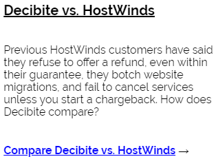 Decibite vs HostWinds