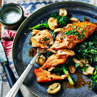Sicilian-style Salmon With Garlic Mushrooms.