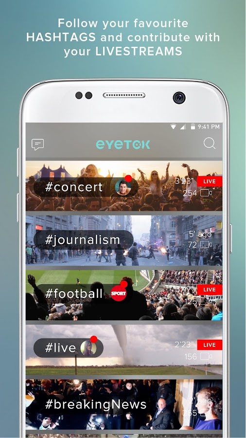 Eyetok, video live streaming- screenshot