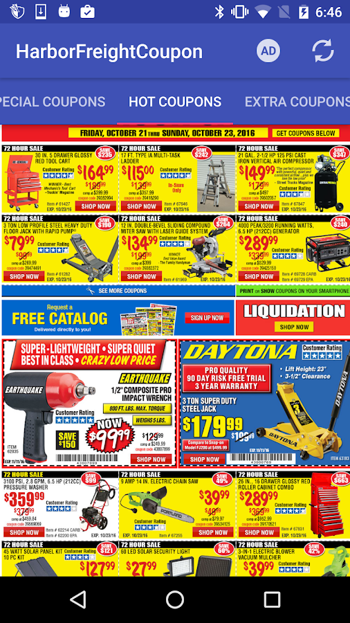 Screenshots of Coupons for Harbor Freight for iPhone