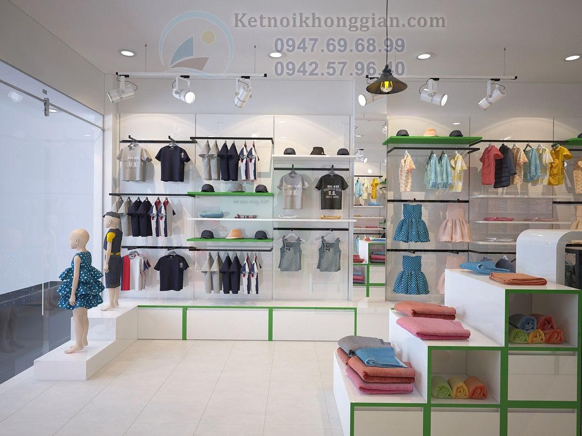 thiết kế shop mẹ và bé thoáng và rộng