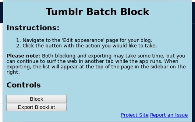 Tumblr Batch Block