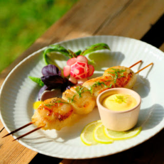 Scallop Skewers Marinated in Basil Oil, with Lime Aioli