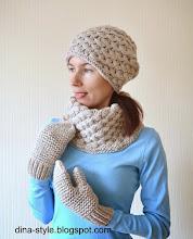 Photo: женский вязаный комплект Зернышки (вязаная шапка-носок, шарф-воротник, варежки)