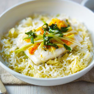 Steamed Ginger Fish Served with Egg-Fried Rice Recipe