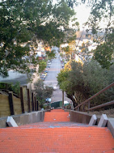 Photo: End of sixth full day of work (November 1, 2013): evening view of the bottom sections of the Hidden Garden Steps (16th Avenue, between Kirkham and Lawton streets in San Francisco's Inner Sunset District) as installation of the orange Schluter-DITRA underlay materials, tread tiles, and the 148-step ceramic-tile mosaic designed and created by project artists Aileen Barr and Colette Crutcher continues. For more information about this volunteer-driven community-based project supported by the San Francisco Parks Alliance, the San Francisco Department of Public Works Street Parks Program, and hundreds of individual donors, please visit our website at http://hiddengardensteps.org.