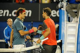 Photo: Nadal shaking Roger Federer's hand after their match.© FFT/Sportvision