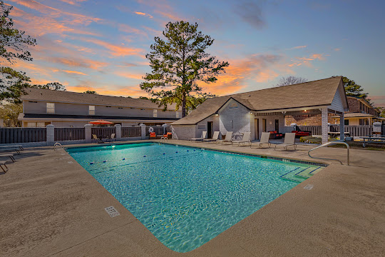 Peppertree's refreshing swimming pool at dusk