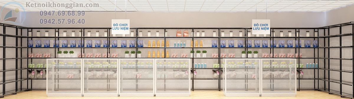 thiết kế nội thất siêu thị mini đa dạng trẻ trung phong cách