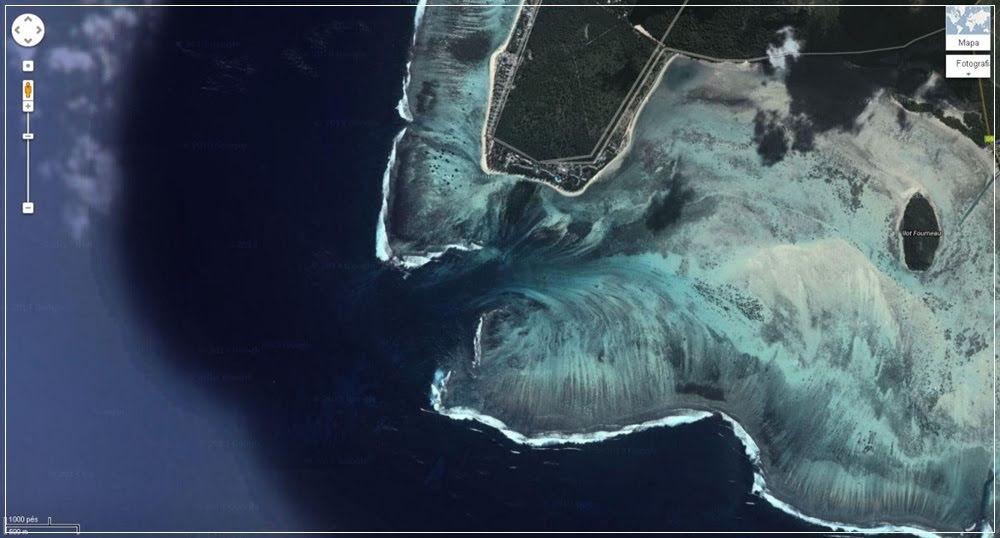 A ilusão da cachoeira submersa na Ilha Maurício