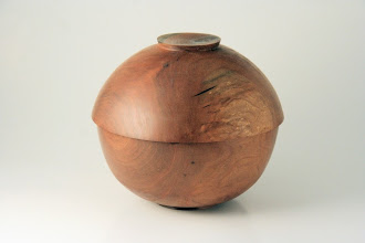 "Photo: Don Van Ryk 6-1/4"" x 5-1/2"" ""Beads of Courage"" lidded bowl [cherry]"