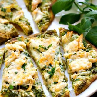 Roasted Garlic & Pesto Chicken Flatbreads