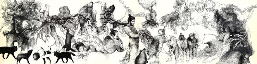 Photo: The whore, the wolf and the samurai. ink on cotton paper. 250 x 50 cm. 2013