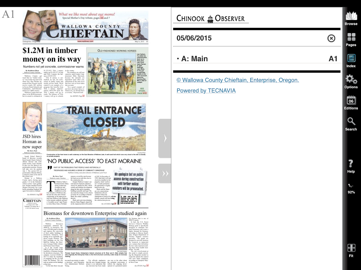 Wallowa County Chieftain- screenshot