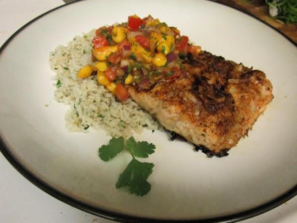 Coconut Crusted Salmon & Mango Salsa Recipe