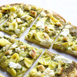 Pesto Artichoke and Goat Cheese Thin Crust Pizza