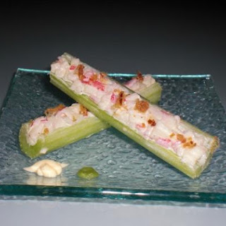 Craby Celery Sticks With Bacon Bits.