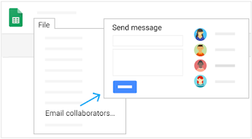 Select File, Email collaborators, then a Send message window appears, with collaborators listed on the right
