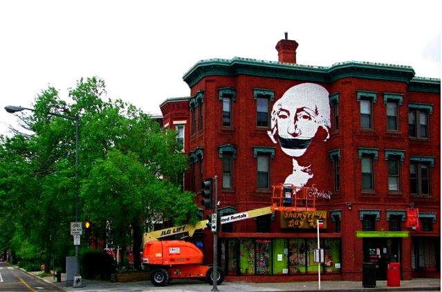 View of Gagged George Washington from U St. & 15th.