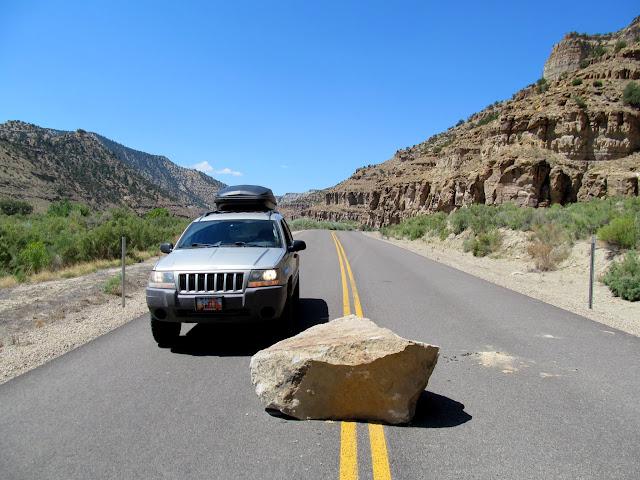 Fallen rock in the road