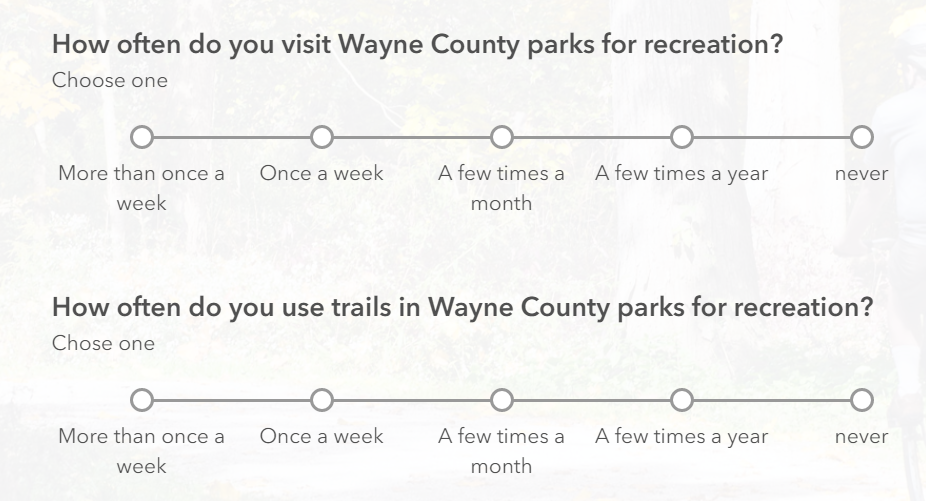 how often do you visit the parks question and how often do your use the trails question