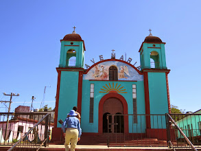 Photo: We stopped in the town of Pluma Hildago, known for its coffee,with its simple church.