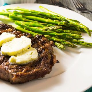 Oven Grilled Pan Seared Steak with Blue Cheese Compound Butter