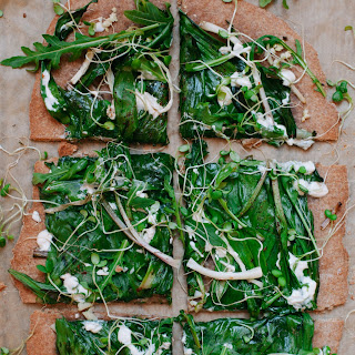 Ramp Flatbread Pizza with Garlic Cream
