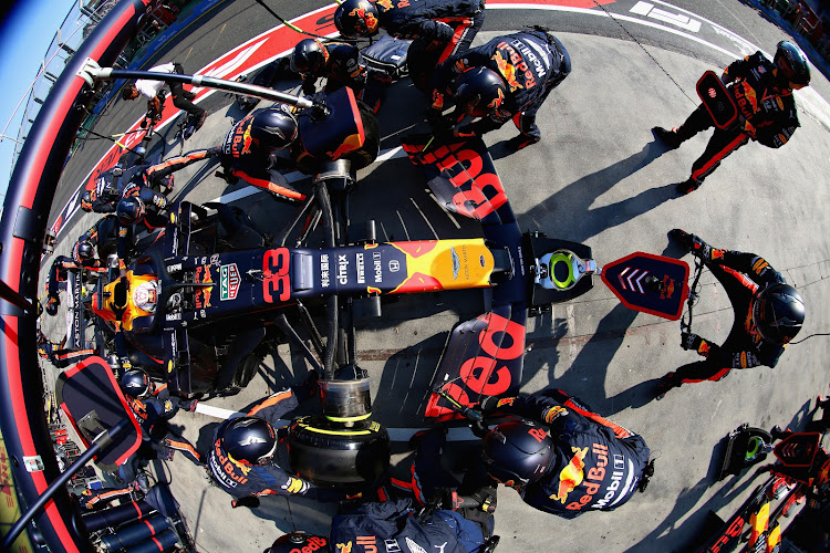 Max Verstappen of the Netherlands driving the Aston Martin Red Bull Racing RB15 makes a pitstop during the Australian Grand Prix in Melbourne on Sunday.