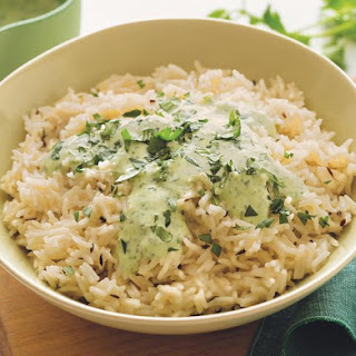 Coconut Milk Rice Pilaf with Cilantro Sauce