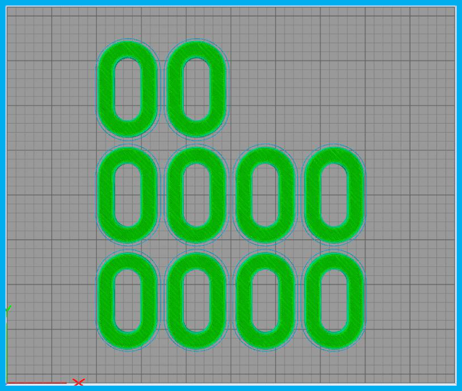 Figure 8: Simplify3D layout of ten tensile specimens on a Prusa i3 MK2.