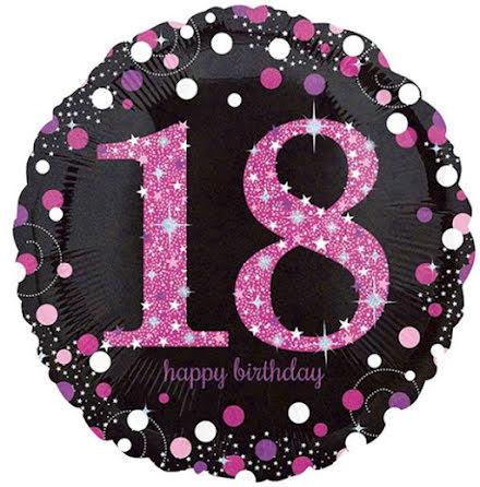 Folieballong Sparkling birthday 18 rosa