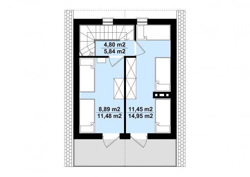 G161 - Budynek letniskowy - Rzut poddasza
