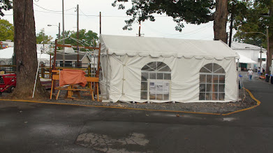 Photo: MCW Fair setup with pole lathe -- appropriately, under two trees