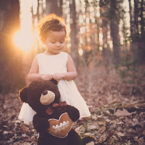 Beautiful by Maria Lucas - Babies & Children Toddlers ( outdoor, fine art photography, childhood, sunset, teddy bear,  )
