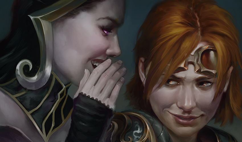 Liliana whispers in the ear of a reluctantly grinning Chandra; art by Mark Winters