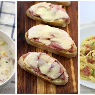 Ham & Potato Chowder with Green Salad & Lemon Vinaigrette.
