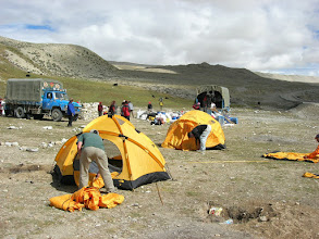 Photo: Jacob and Greg are pitching tents in Chinese Base Camp (4900m)