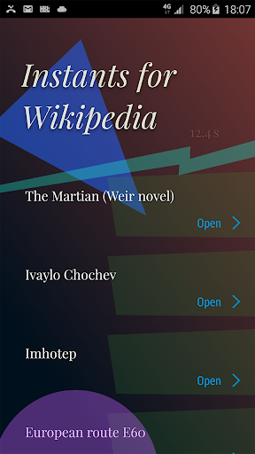 Instants for Wikipedia