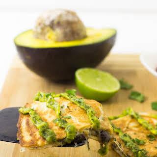 Mexican Quesadillas with Avocado Cilantro Cream Sauce.