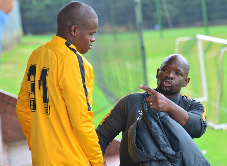 Kaizer Chiefs' head coach Steve Komphela chats to midfield hardman Willard Katsande during the 2018 Nedbank Cup media day at Chiefs Village, Johannesburg on 08 March 2018.