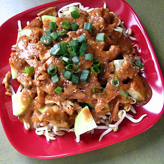 Indonesian Tofu, Bean Sprout, And Cucumber Salad With Spicy Peanut Dressing.