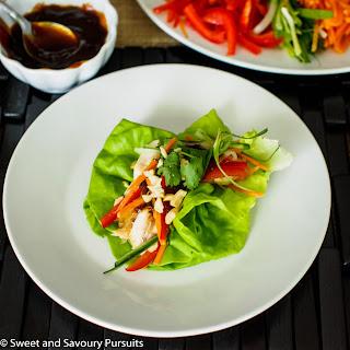 Chicken and Vegetable Lettuce Bundles.