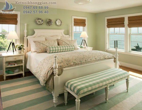 thiết kế phòng ngủ màu xanh lá