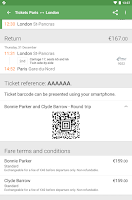 Screenshot of Captain Train: train tickets