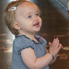 Say a little prayer by Jack Nevitt - Babies & Children Babies ( hallway, praying, infant, inside, blue eyes )