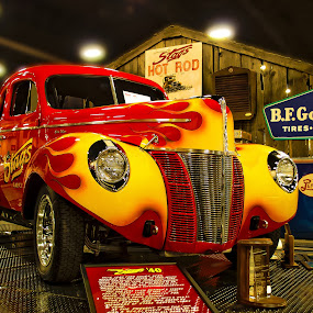 Willy on Fire by Boyd Smith - Transportation Automobiles ( pepsi, b. f. goodrich, stags car club, willey's coop )