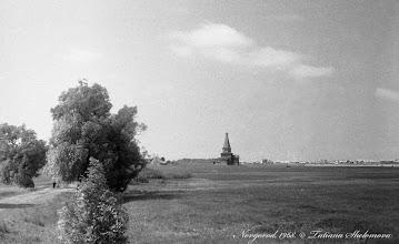 """Photo: Вид на музей деревянного зодчества """"Витославлицы"""" от Юрьева монастыря. 1968 год."""