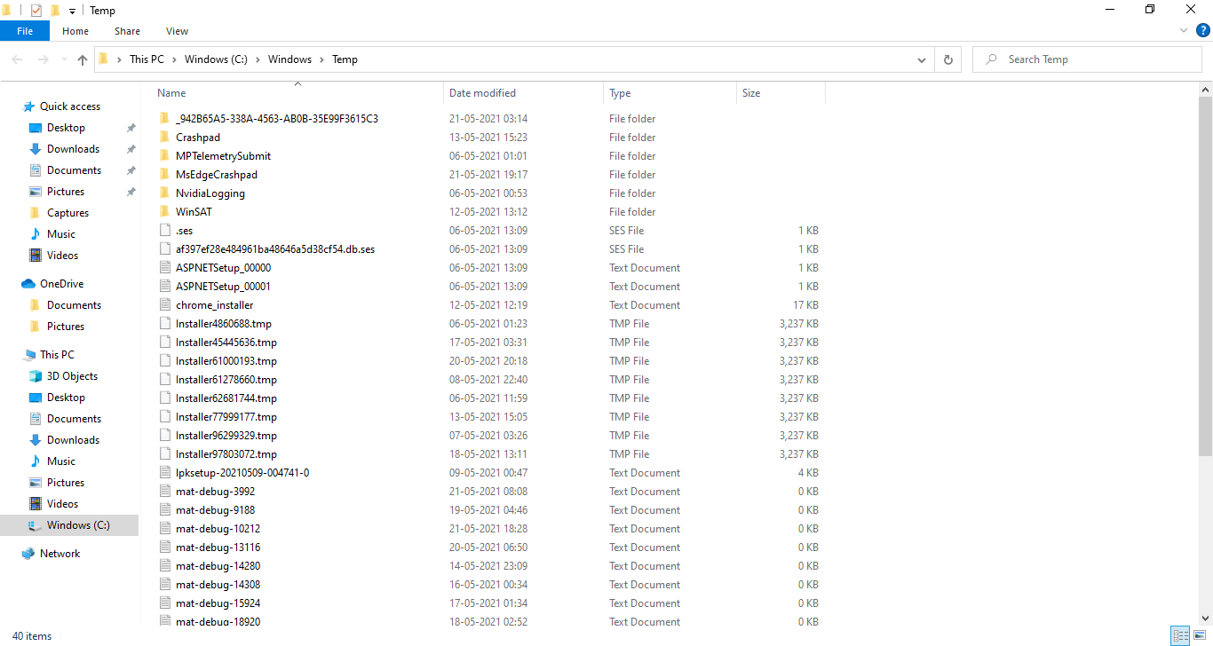 The Temp folder containing all the temporary files that have to be deleted
