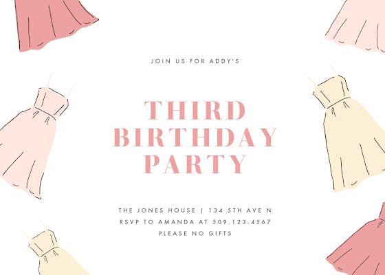 Addy's 3rd Birthday - Birthday Card Template